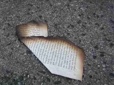 Libros quemados en el suelo de Berlín. By WOMANWORD