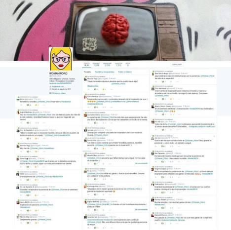 Twitter @Woman_Word y algunos Tweets de los alumnos de la URJC durante la ponencia de WOMANWORD
